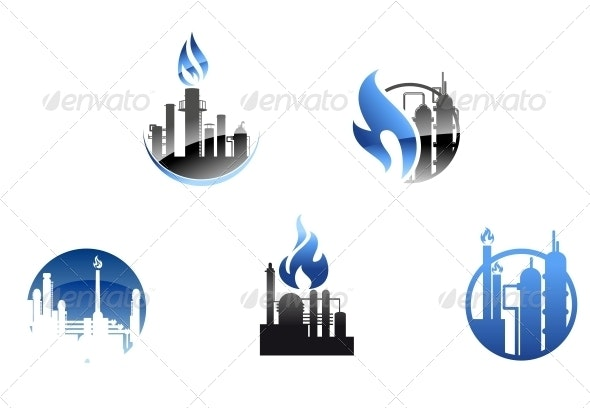 Refinery Factory Icons and Symbols - Industries Business