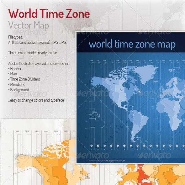 Time Zone Vector Map