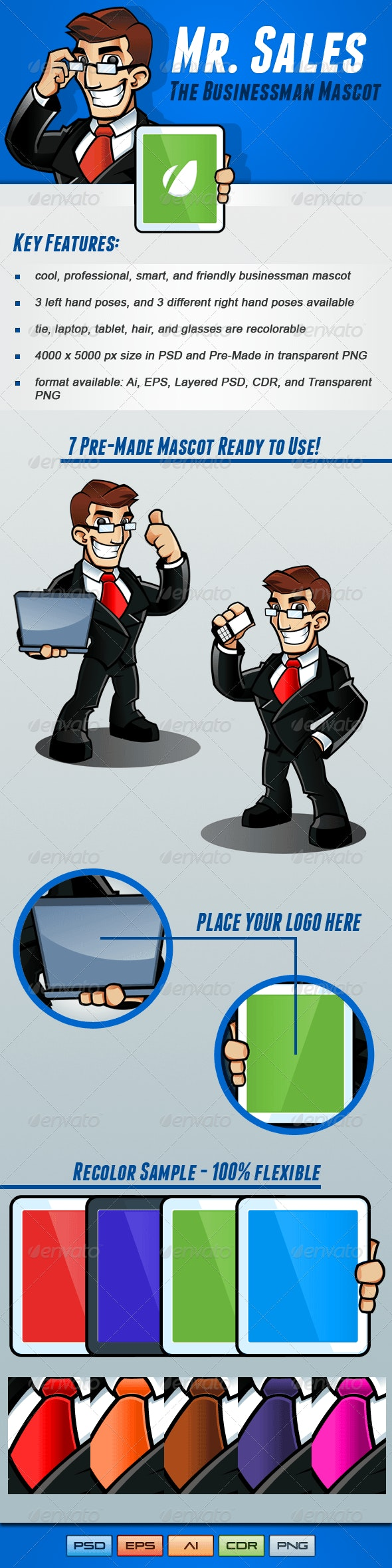Mr. Sales - Businessman Mascot Pack - People Characters