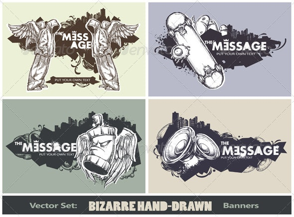 Vector set of modern sketchy style banners - Vectors