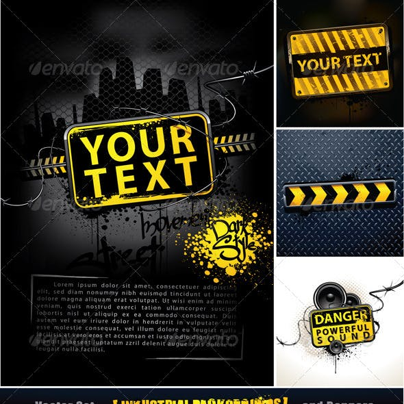 Vector set of industrial backgrounds and banners