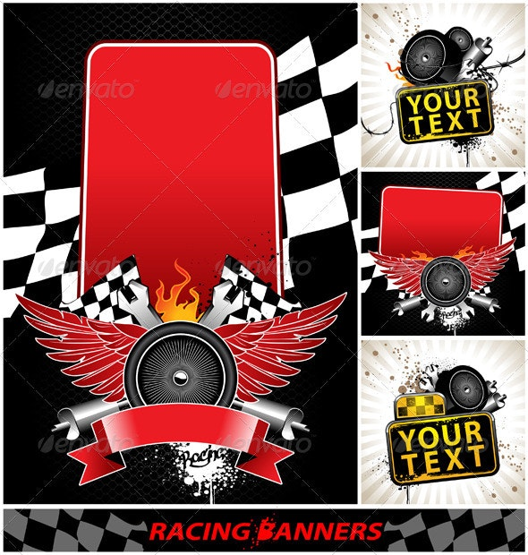 Vector set of racing banners - Vectors