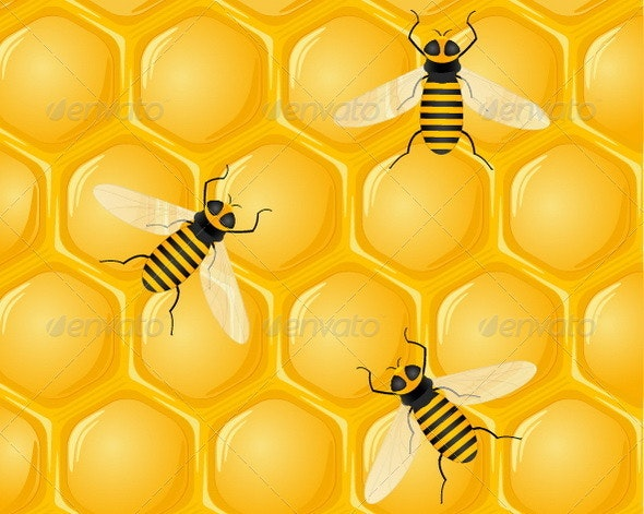 Bees On Honeycomb - Nature Conceptual