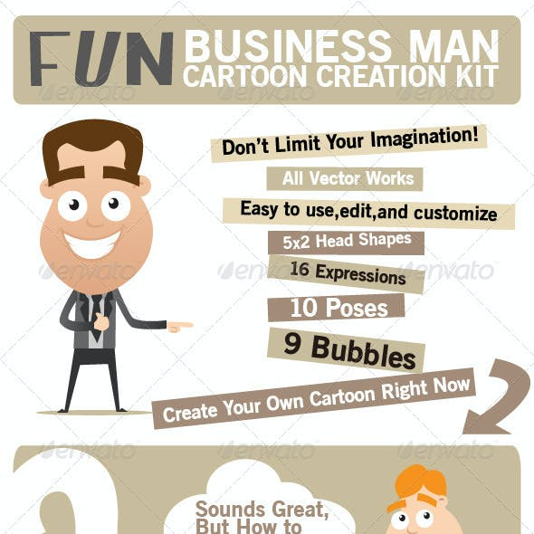 Fun Business Man Cartoon Creation Kit