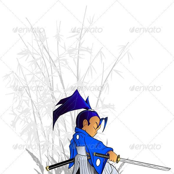 Kneeling Samurai Vector with Katana and Bamboo