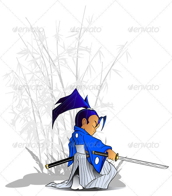 Kneeling Samurai Vector with Katana and Bamboo - People Characters