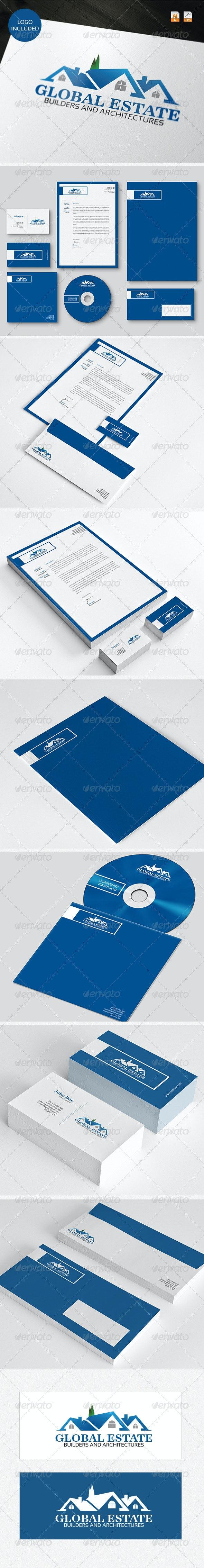 Global Estate Logo & Identity - Stationery Print Templates