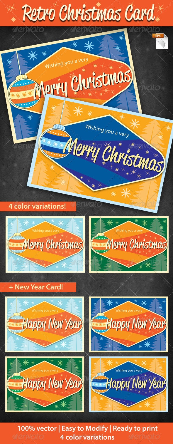 Retro Cristmas Card - Holiday Greeting Cards