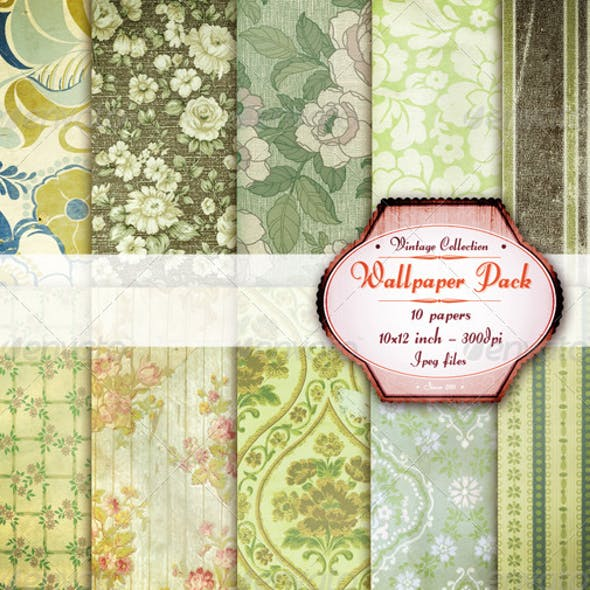 Victorian Green Wallpaper Texture Pack