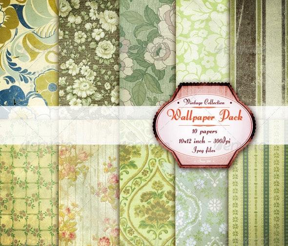 Victorian Green Wallpaper Texture Pack  - Paper Textures