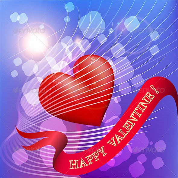 Greeting Card with Heart in the Sky - Valentines Seasons/Holidays