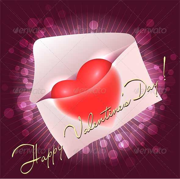 Greeting Card with Heart in the Message - Valentines Seasons/Holidays