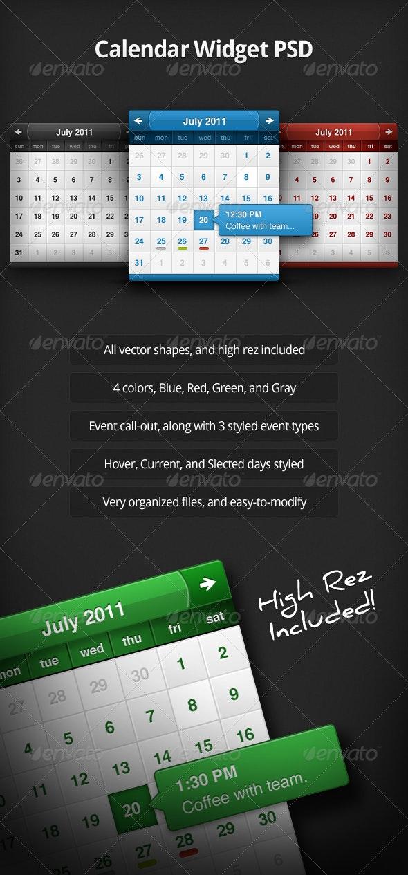 Calendar Widget PSD - Miscellaneous Web Elements