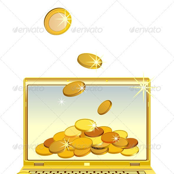 Vector open notebook with gold coins
