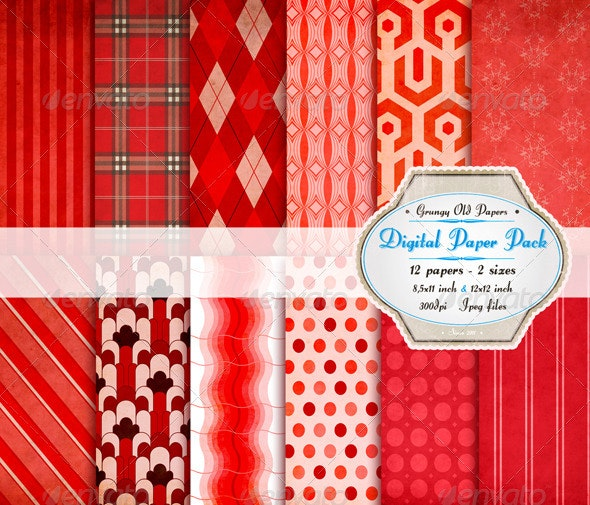 Red Riding Hood Digital Paper Pack - Paper Textures