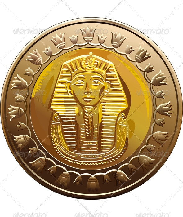 Vector Egyptian coin featuring Pharaoh - Man-made Objects Objects