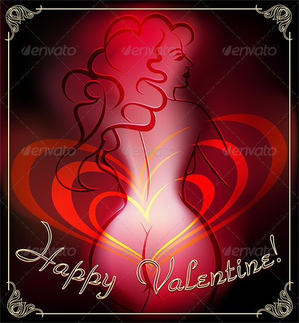 Greeting Card with Body in Dark - Valentines Seasons/Holidays