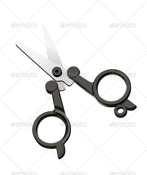 Vector scissors on a white background - Man-made Objects Objects