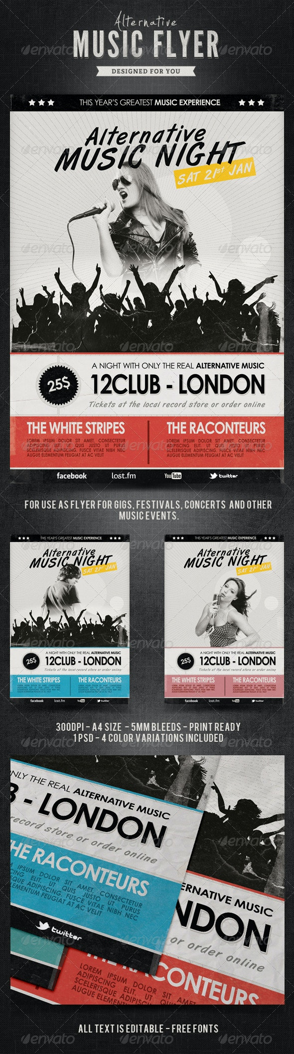 Retro Alternative Flyer / Poster - Concerts Events