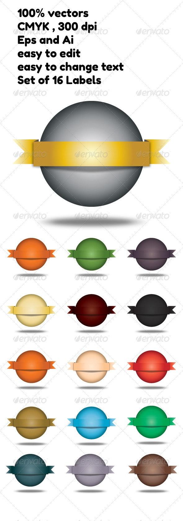 Set of 16 deferent  Labels on balls - Decorative Symbols Decorative