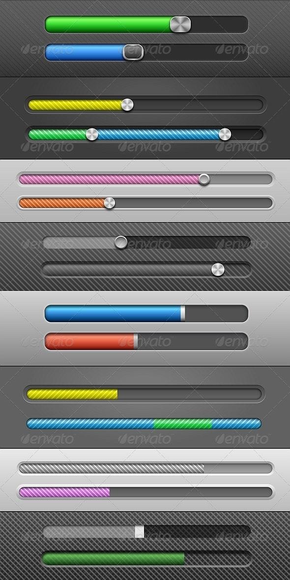 Vector Slider Bars - Web Elements Vectors