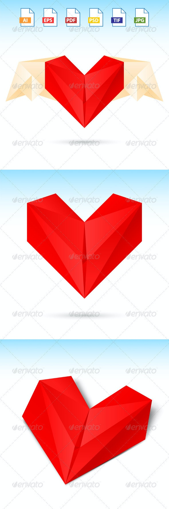 3 Red Heart Origami Paper - Valentines Seasons/Holidays