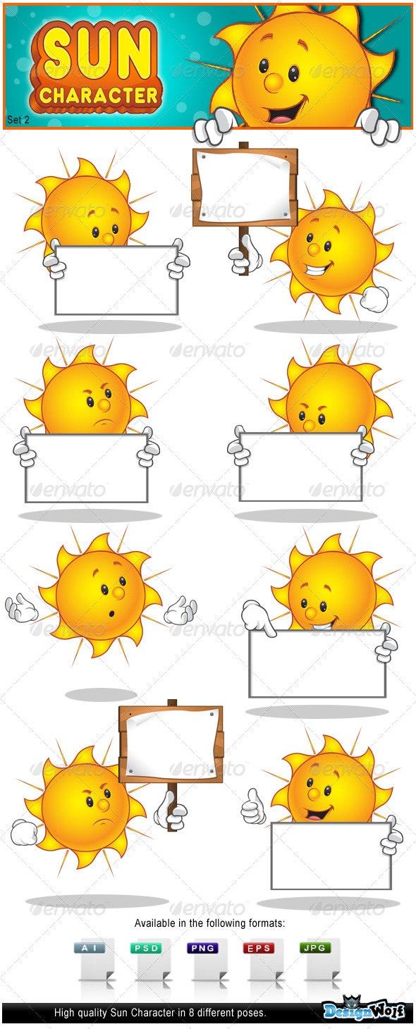 Sun Character - Set 2 - Characters Vectors