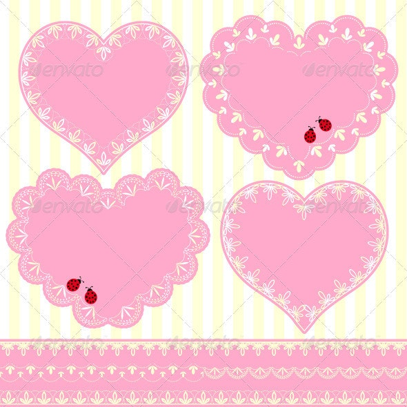 Set of Flower Frame Heart Shape Card - Decorative Vectors