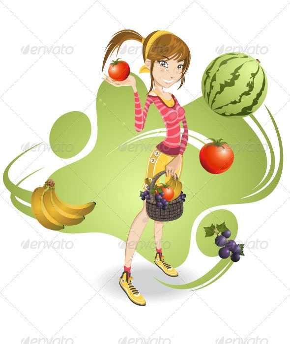 Smiling pretty girl holding basket full of fruits - Characters Vectors