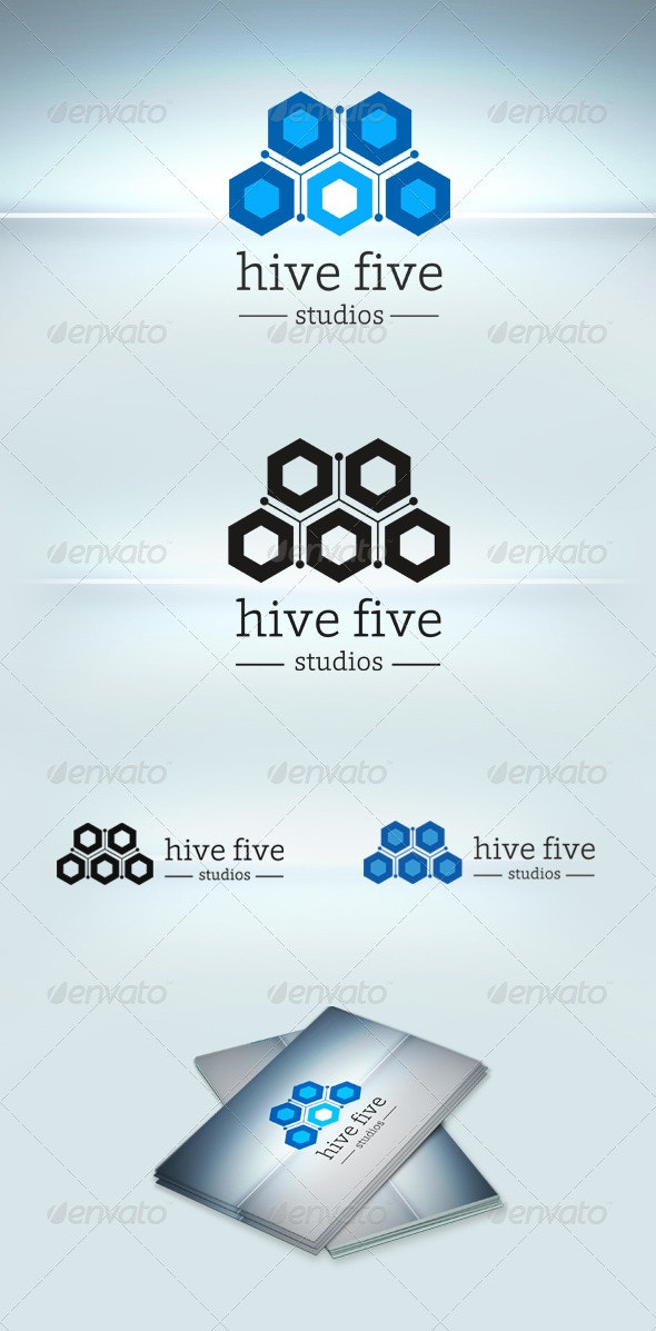Hive Five Logo Template - Vector Abstract