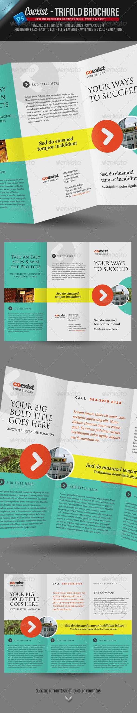 Coexist - Trifold Brochure PSD Template - Corporate Brochures