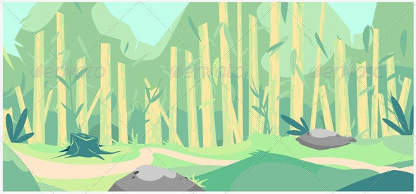 Vector forest cartoon background  - Objects Vectors