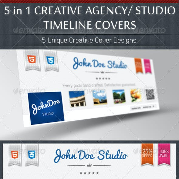 5 in 1 Creative Studio/ Agency Timeline Covers