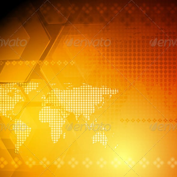 Vector hi-tech background with world map