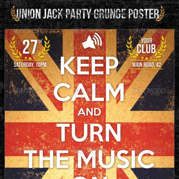 Union Jack Party Grunge Poster