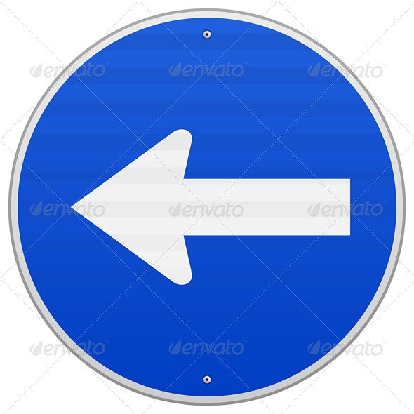 Blue Sign with Arrow Left - Objects Vectors