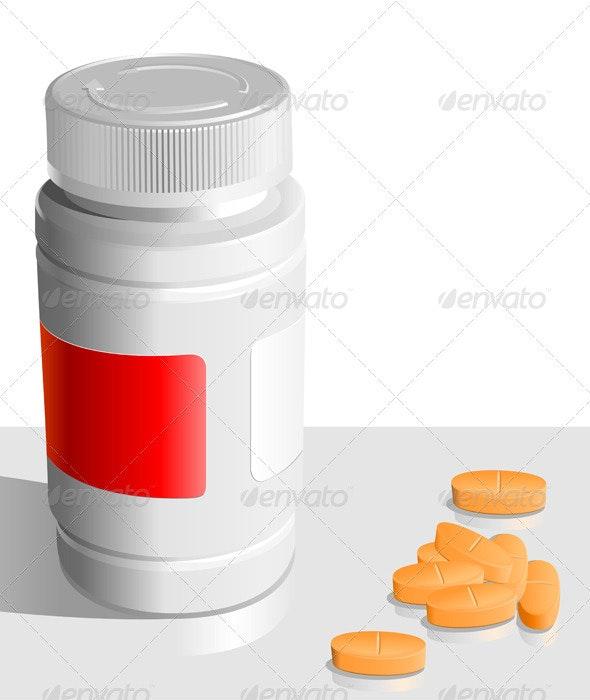 Vector orange tablets  around the banks for drugs - Health/Medicine Conceptual