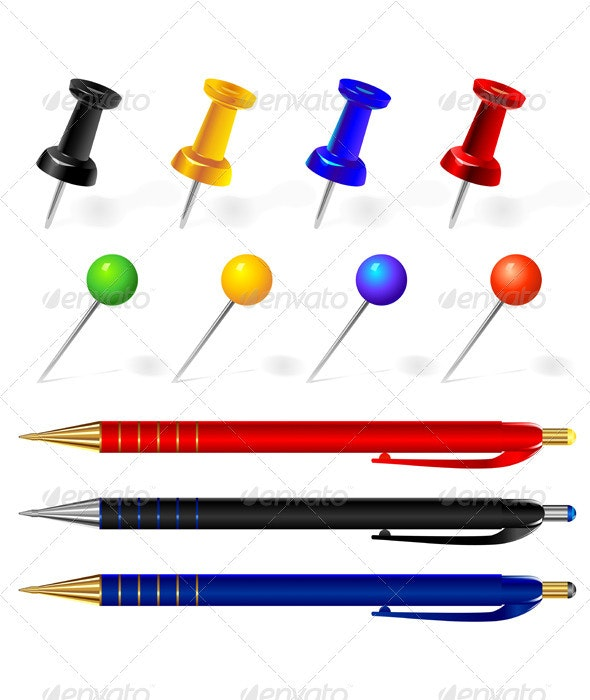 Vector set of pens and pins different colors - Man-made Objects Objects