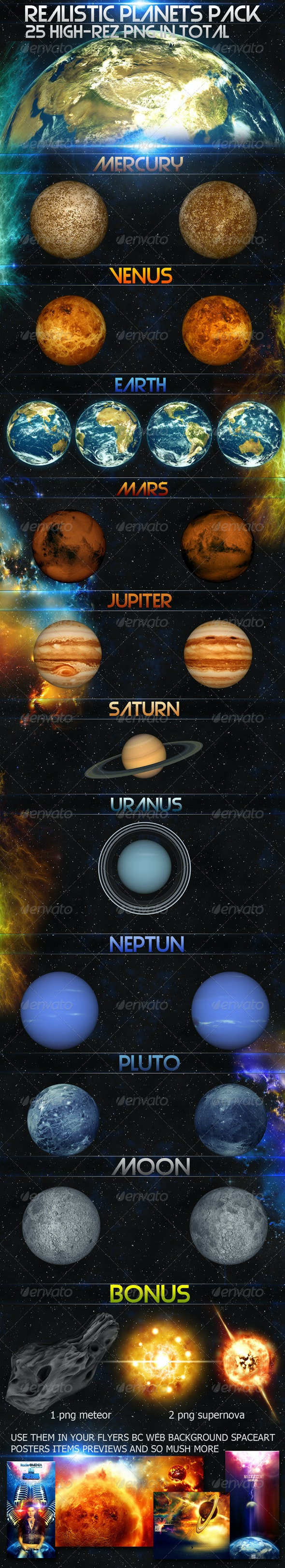 Realistic planets pack - 3D Backgrounds