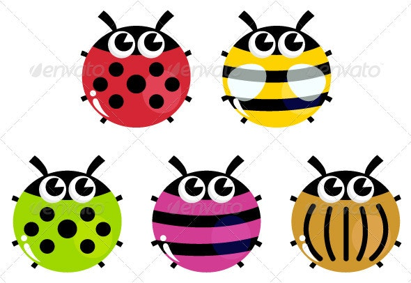 Colorful cartoon insects set isolated on white - Animals Characters