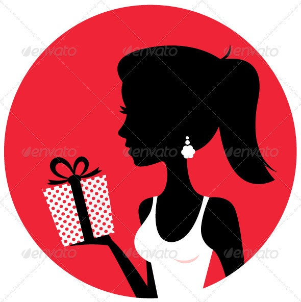 Silhouette of beautiful woman holding present - Valentines Seasons/Holidays