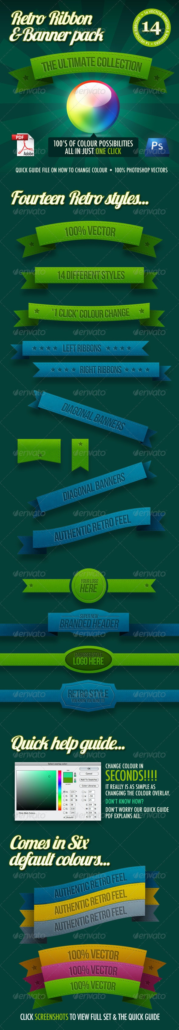 14 Retro Ribbons & Banners