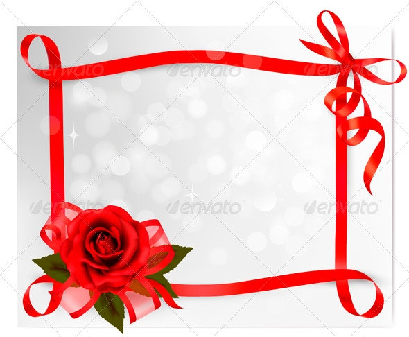 Red rose with gift red bow and ribbons - Valentines Seasons/Holidays