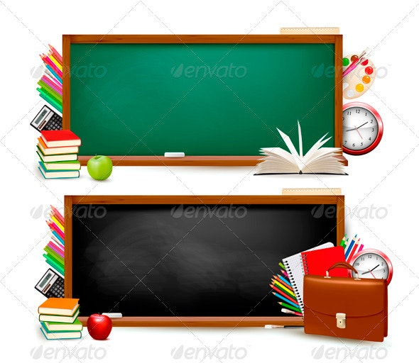 Back to school. Two banners with school supplies - Backgrounds Business
