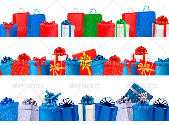 Set of shopping banners with gift colorful boxes - Commercial / Shopping Conceptual