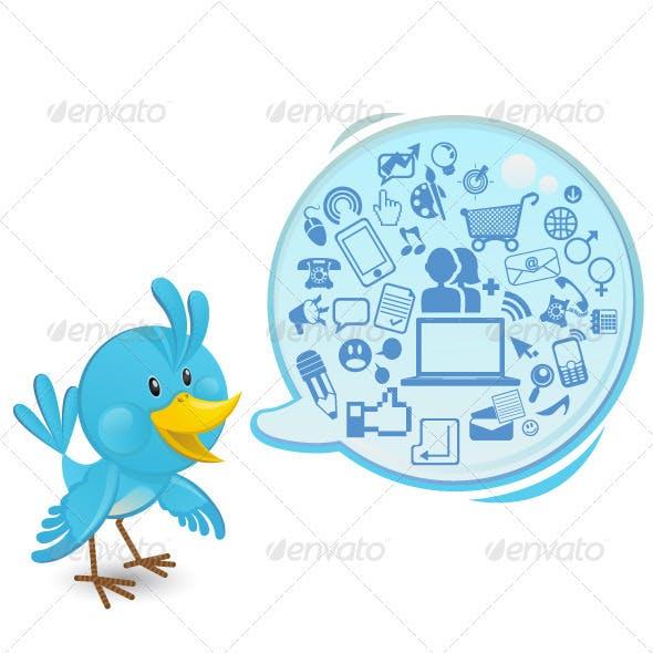 Social networking bluebird with a speech bubble