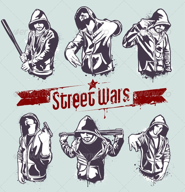 Vector set of hoody gangsters - Characters Vectors