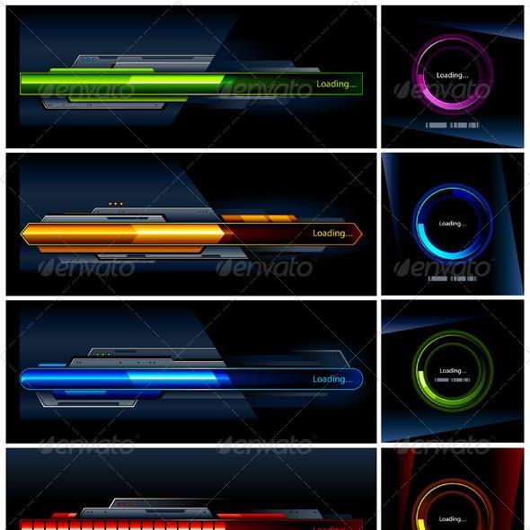 Vector set of high-tech progress indicators