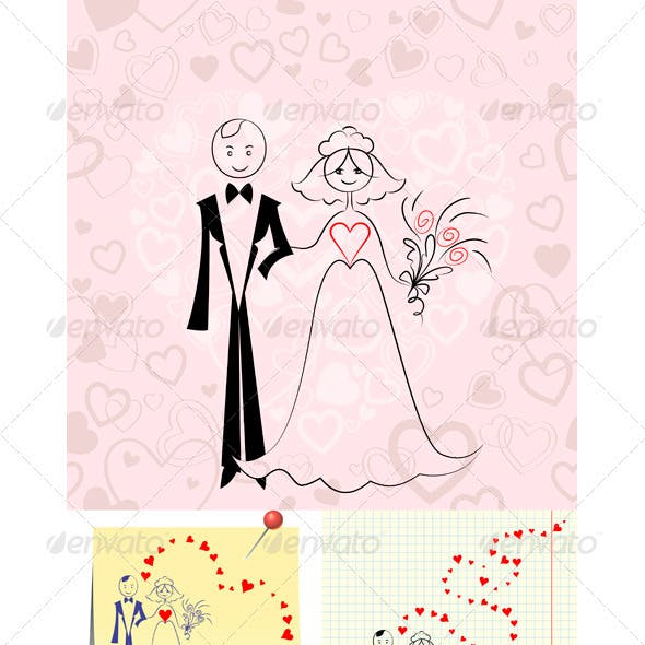 Vector Couple in Love: Bride and Groom