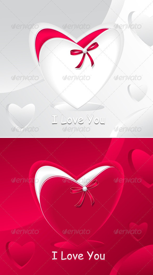 Gift in form heart and with red bow pearl  - Seasons/Holidays Conceptual